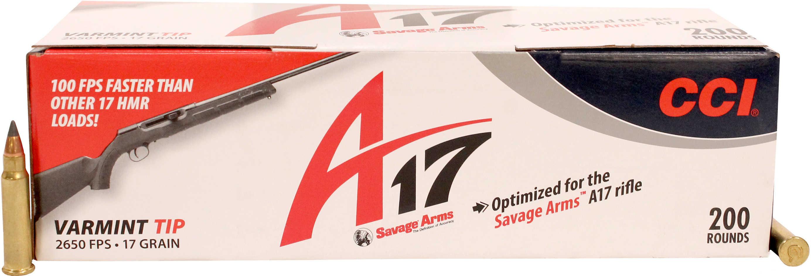 CCI 17HMR 17 Grains A17 Varmint Tip 200 Rounds Ammunition