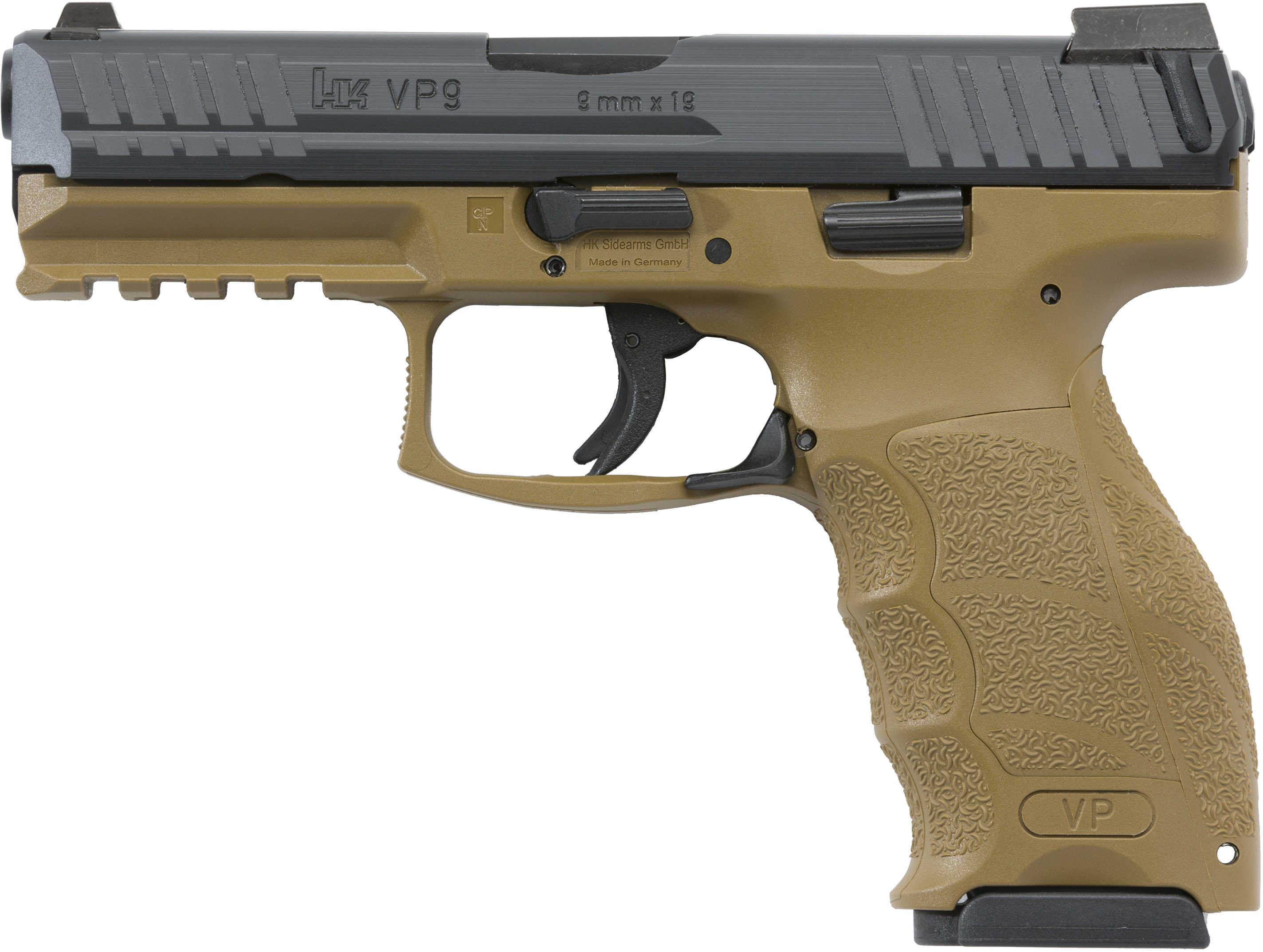 """Heckler & Kosh VP9 Pistol 9mm 4.09"""" Barrel 15 Rounds Flat Dark Earth Finish, 2 Mags"""