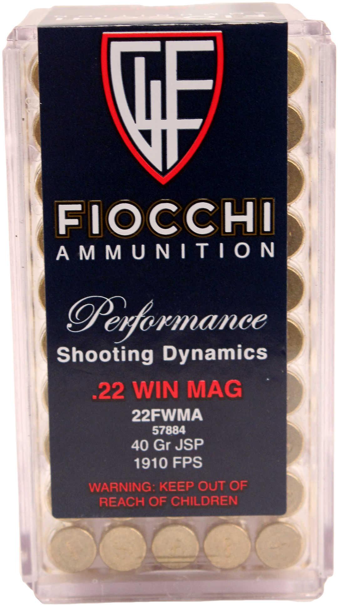 Fiocchi Ammunition Rimfire 22WMR 40 Grain Jacketed Soft Point 50 Round Box 22FWMA