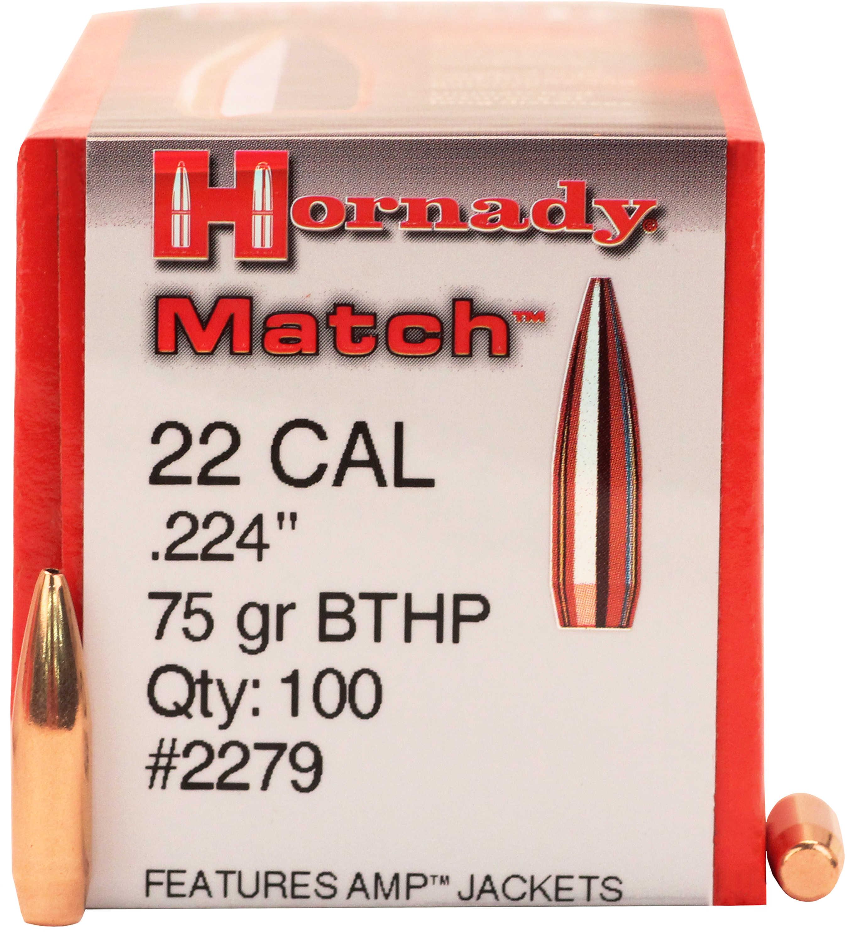 Hornady 22 Caliber Bullets (.224) 75 Grains BTHP Match (Per 100) 2279