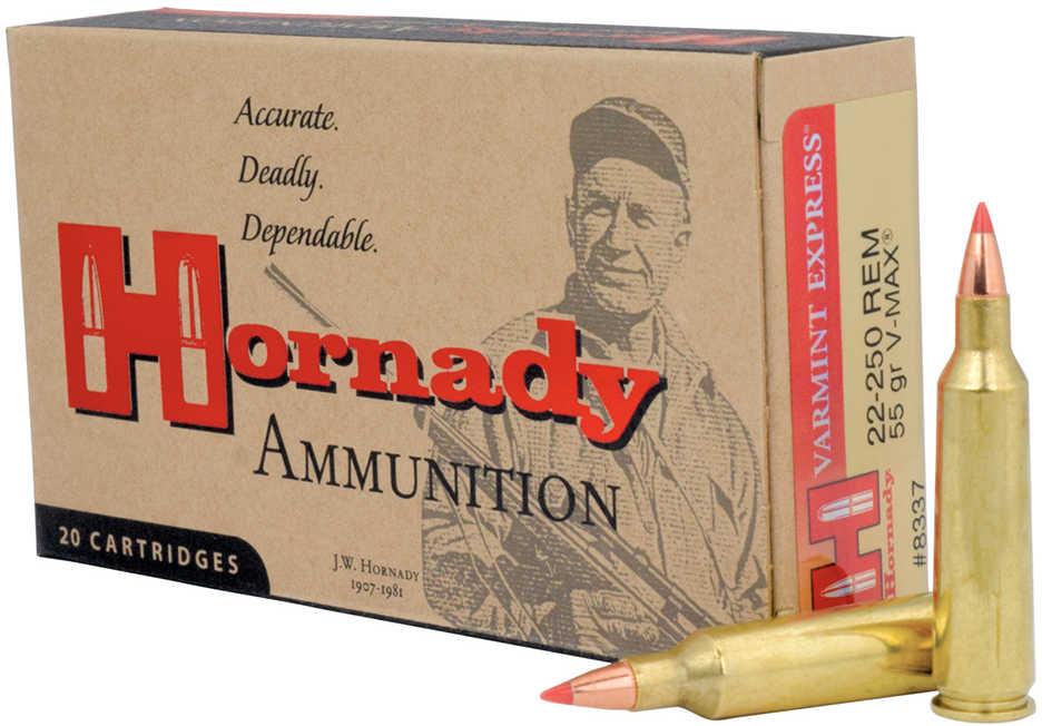 Hornady 22-250 Remington Ammunition 55 Grains V-Max (Per 20) 8337