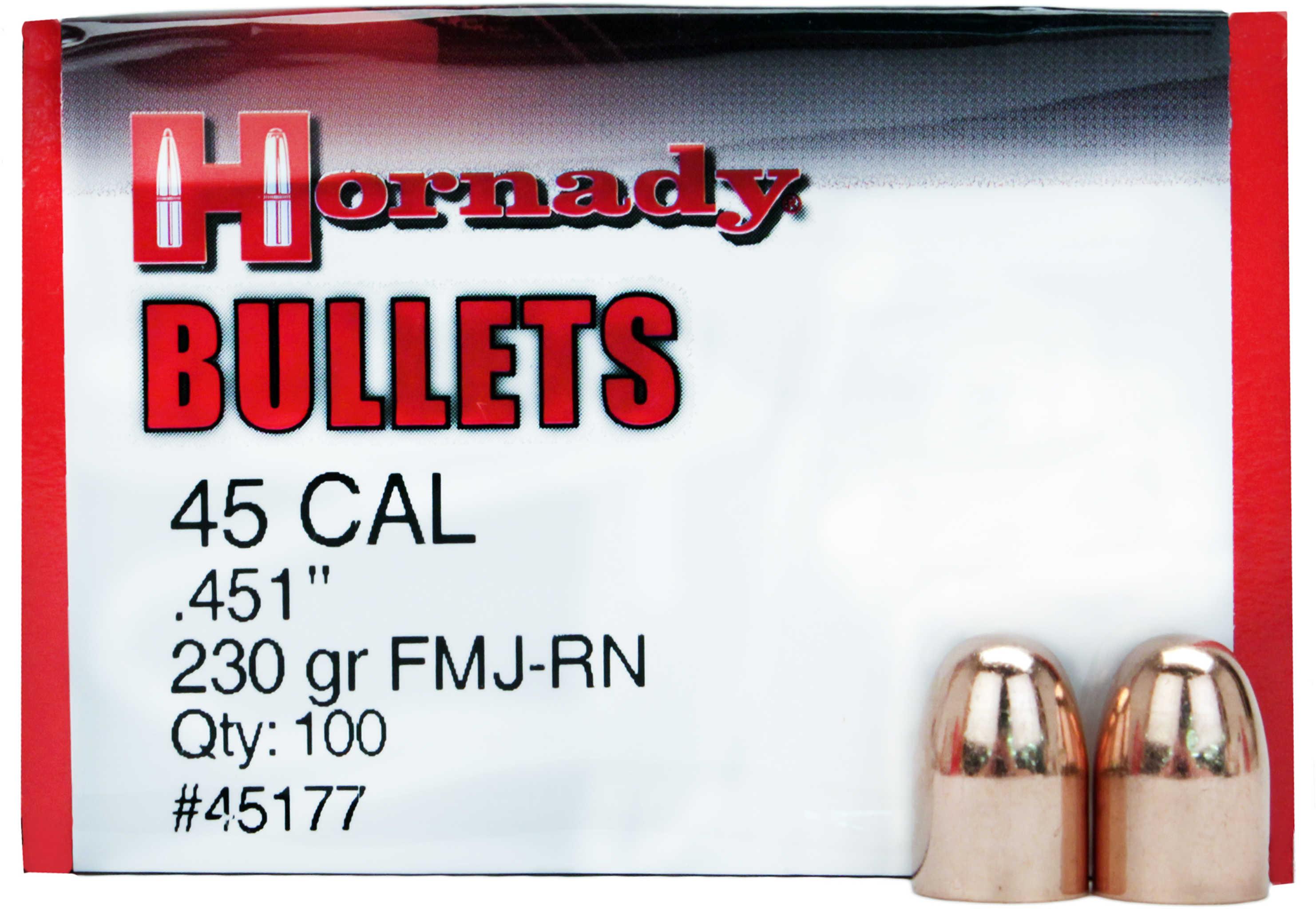 Hornady 45 Caliber Bullets (.451) 230 Grains FMJ-RN ENC (Per 100) 45177