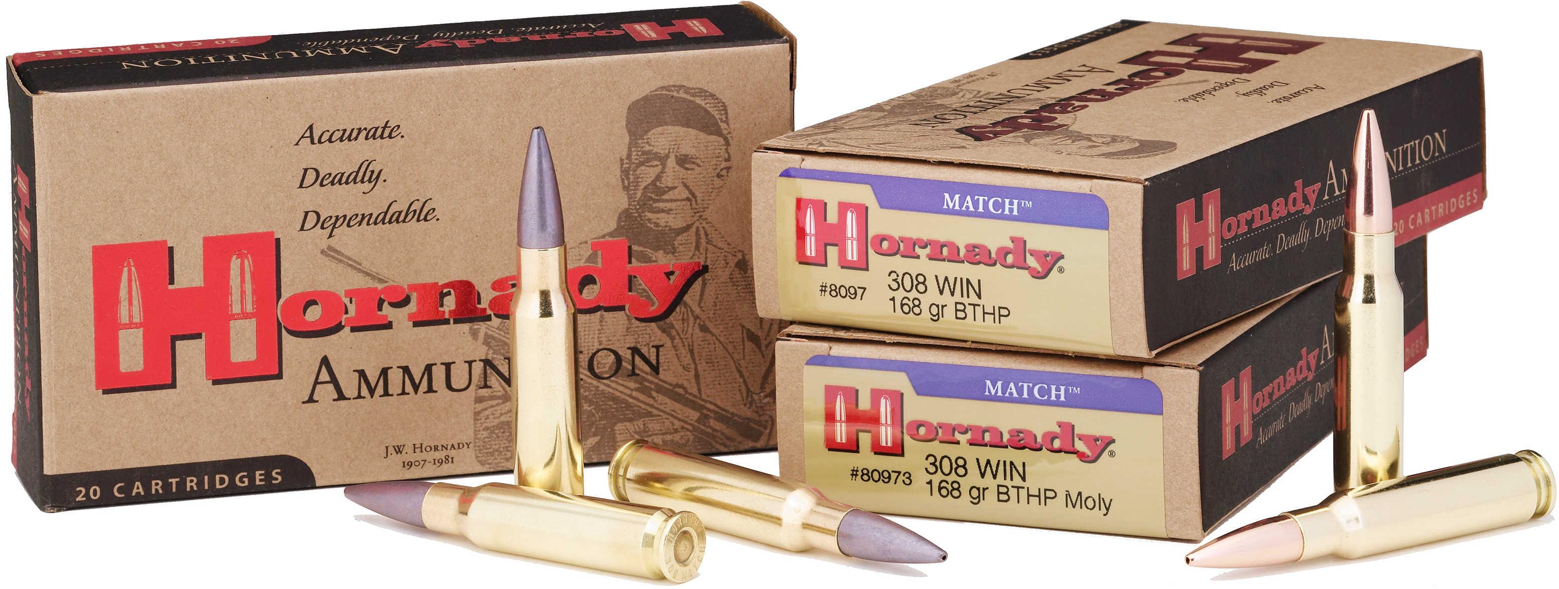 Hornady 308 Winchester 308 Win, 168 Gr, BTHP Match, (Per 20) 8097