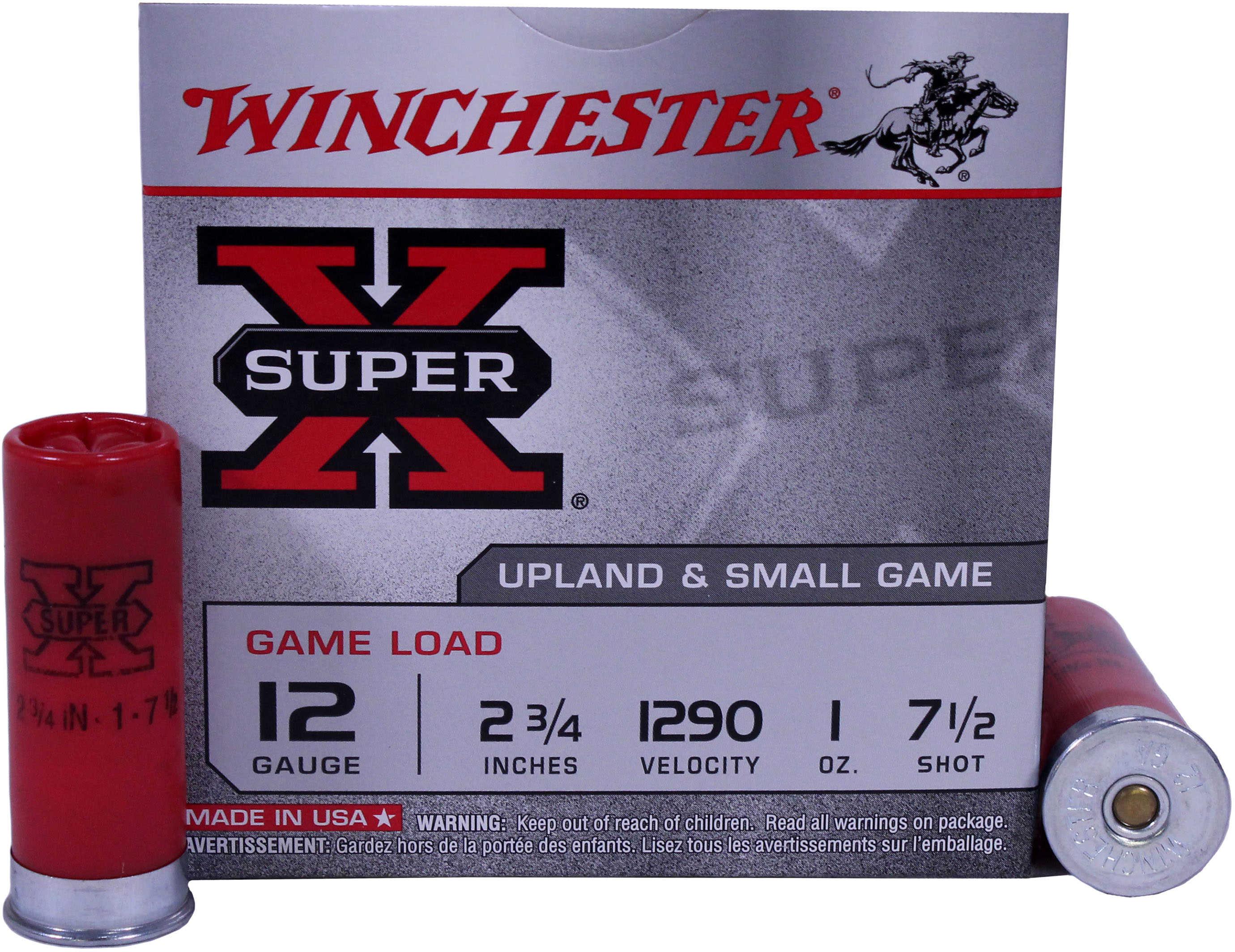 """Winchester Ammunition Super-X 12 Gauge 2.75"""" #7.5 3.25 Dram 1 oz. Shotshell 25 Round Box XU127"""