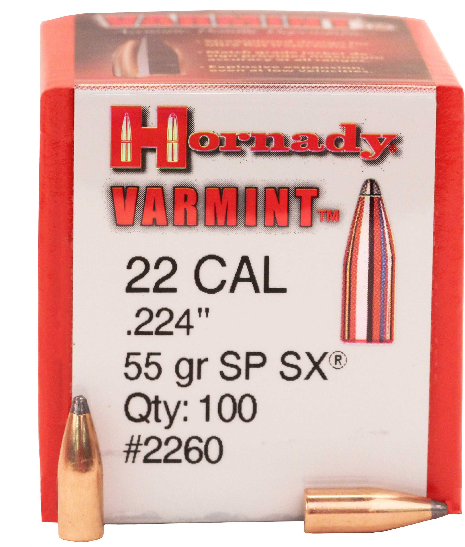 Hornady 22 Caliber Bullets (.224) 55 Grains SPSX (Per 100) 2260