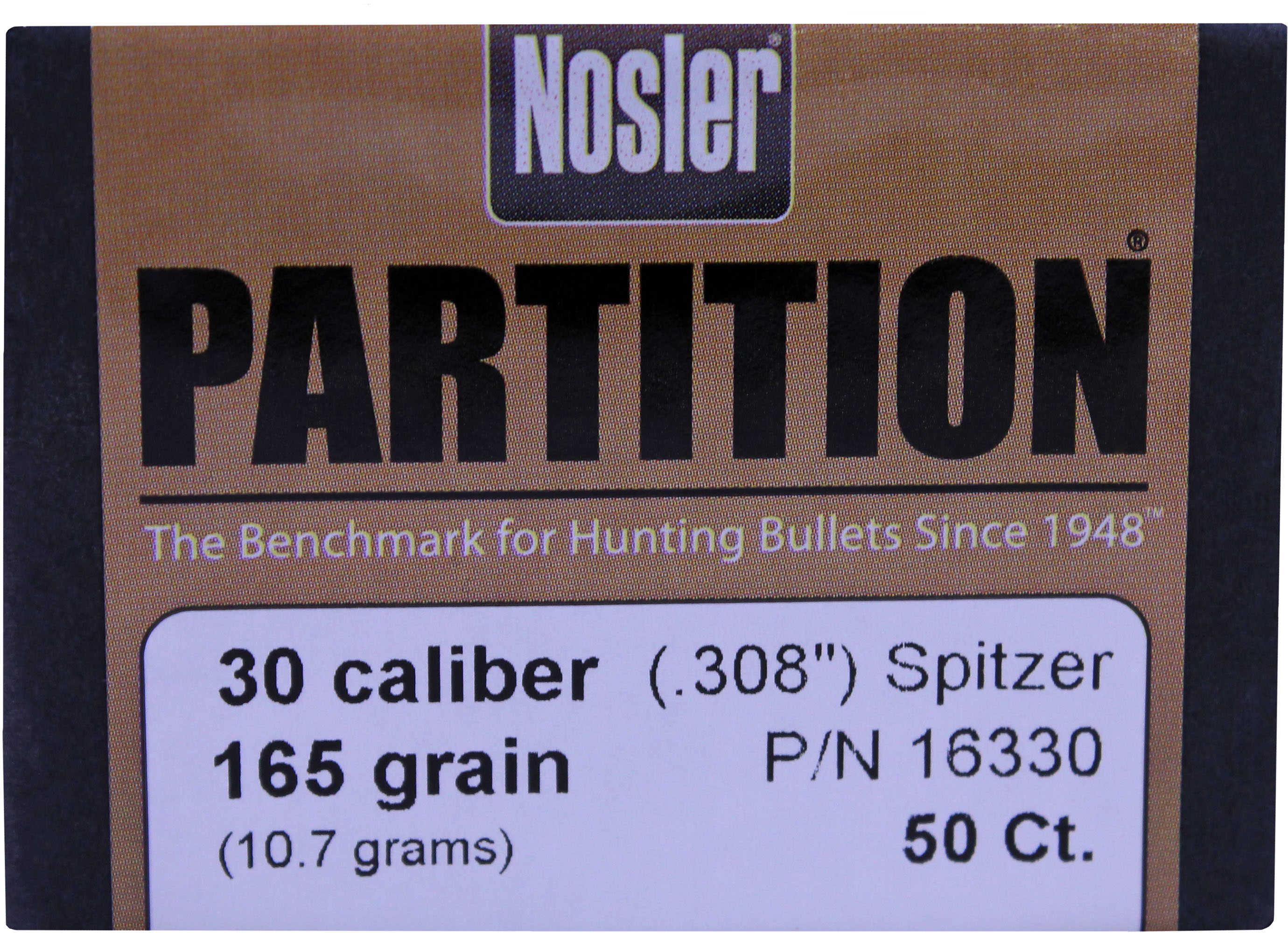 Nosler 30 Caliber 165 Grains Spitzer Partition (Per 50) 16330