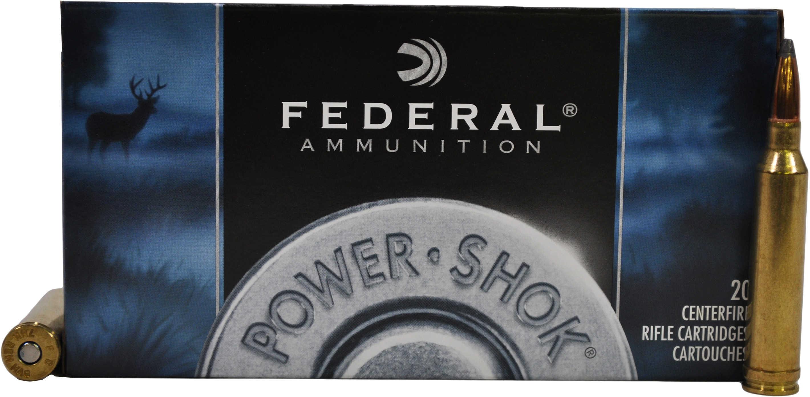 Federal Cartridge 7mm Remington Magnum 7mm Remington Mag, 150gr, Power Shok  Soft Point, (Per 20) 7RA