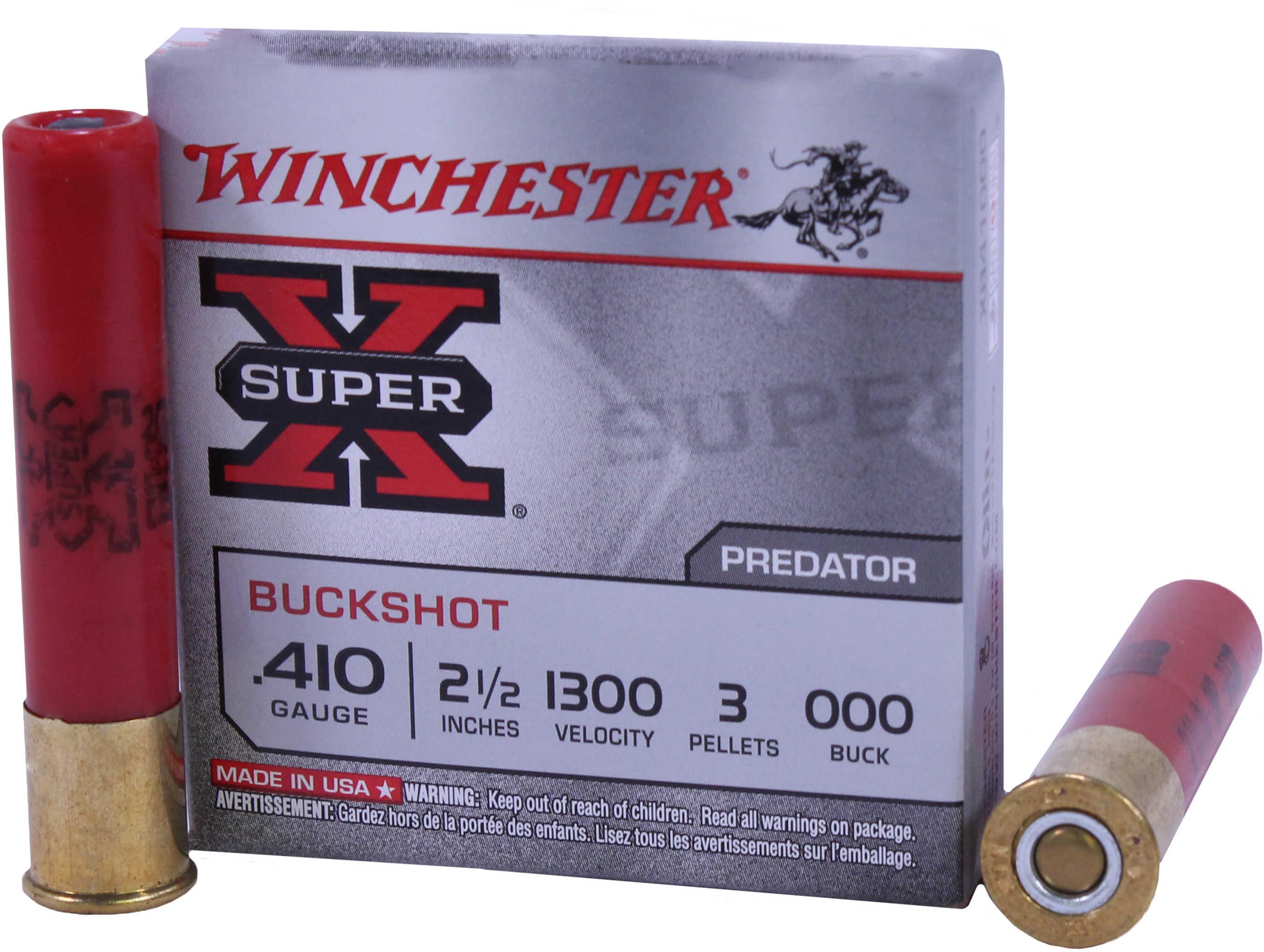 """Winchester Ammunition Super-X 410 Gauge 2.5"""" Buckshot 3 Pellets 5 Round Box XB41000"""