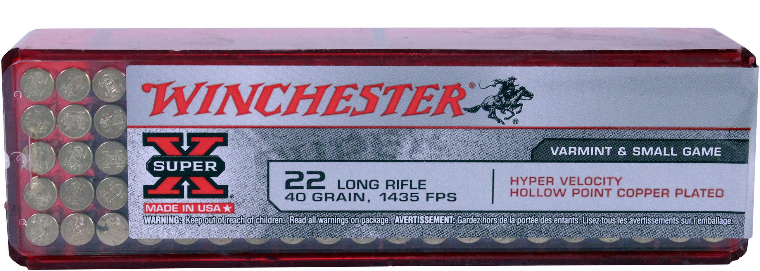 Winchester Ammunition High Velocity 22LR 40 Grain Plated Hollow Point 100 Round Box XHV22LR
