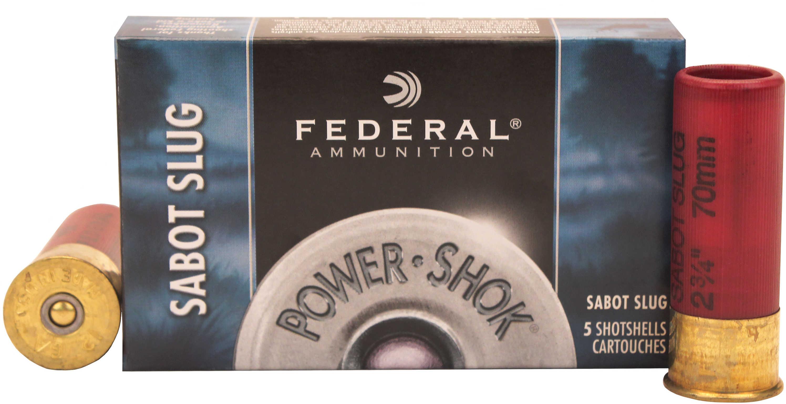 "Federal Cartridge Rifled Slugs Power-Shok 12 Gauge, 2 3/4"" 10 oz. Sabot Slug Per 5 F127SS2"