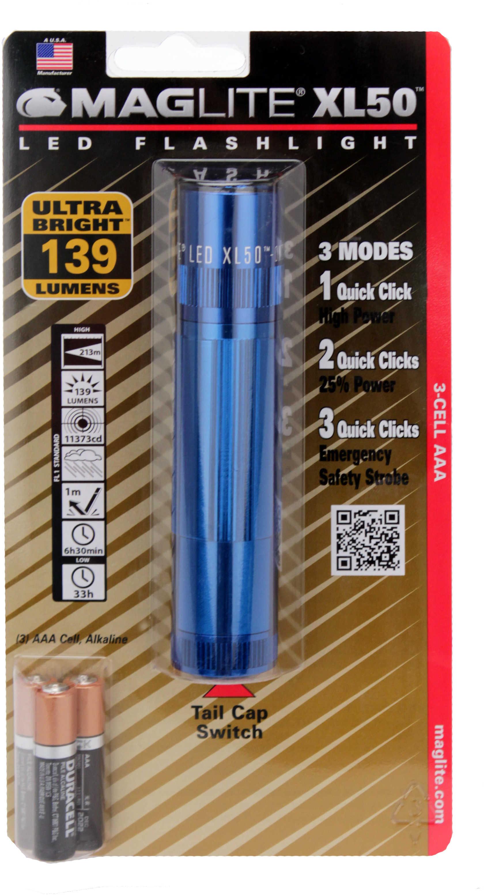 Maglite XL50 LED Light Blister Pack, Blue XL50-S3116