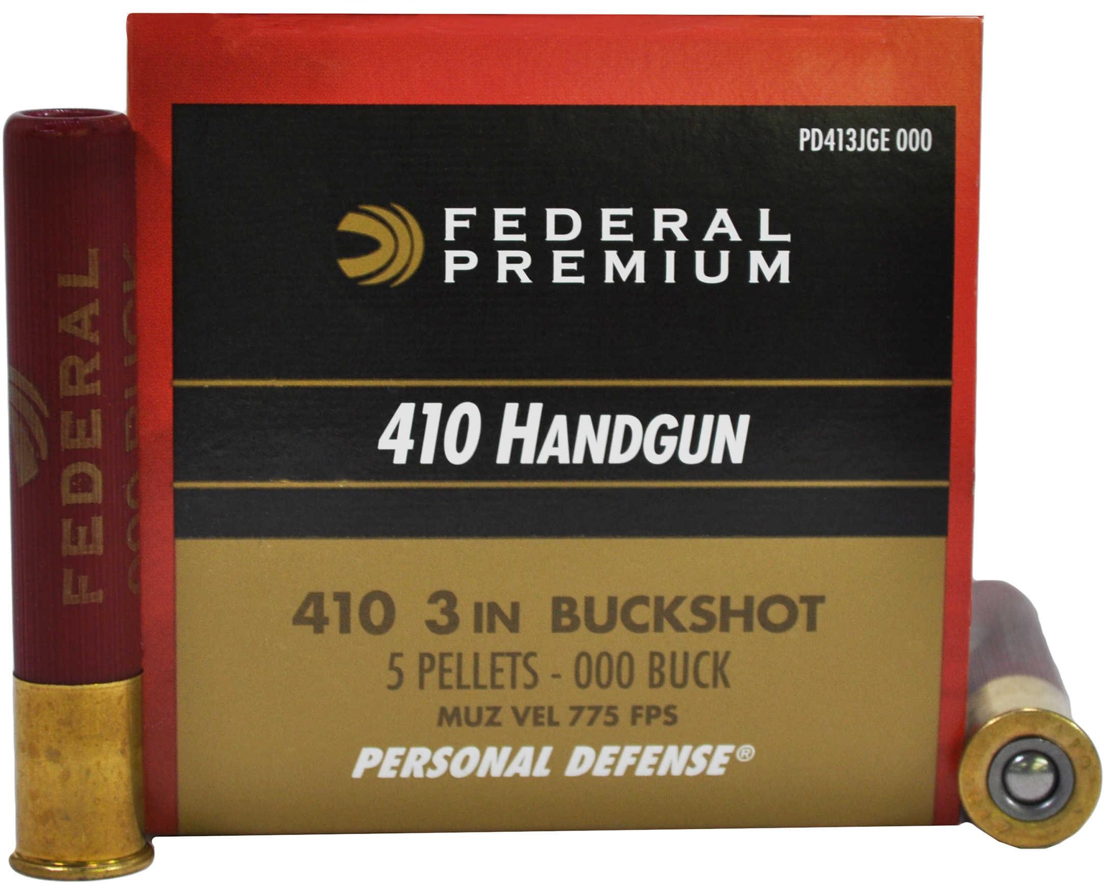 """Federal Cartridge 410 Shotshells Personal Defense 3"""" 5-Pellet 000-Buckshot/20 PD413JGE000"""