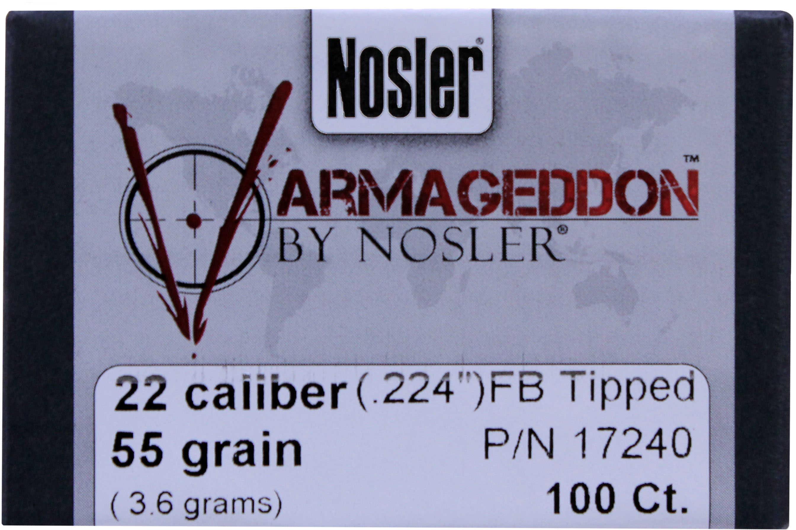 Nosler Varmageddon Bullets 22 Caliber 55 Grains FB Tipped/100 17240