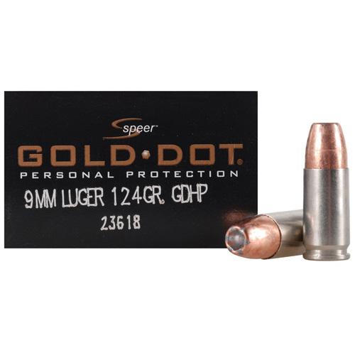 Speer Ammo Gold Dot 9MM Luger 124Gr. GDHP 20-Pack