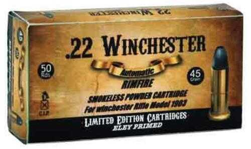 Aguila 22 Winchester Auto 45 Grain Lead Round Nose Eley Primed 50-pack