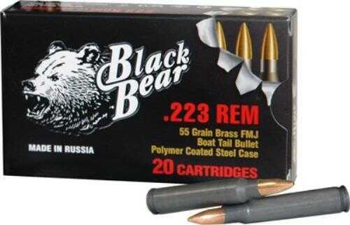 Bear Ammunition Black Bear .223 Remington 55 Grain Full Metal Jacket Brass Bullet Ammunition, 20 Rounds Md: AP223C