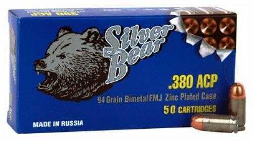 Bear Ammunition Silver Bear .380 ACP 94 Grain Full Metal Jacket Zinc Plated Case, 50 Rounds Per Box Md: AS380FMJ