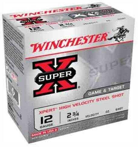"Winchester Ammunition Xpert 12 Gauge 2.75"" #6 1oz Steel Shot Lead Free 25 Round Box WE12GT6"
