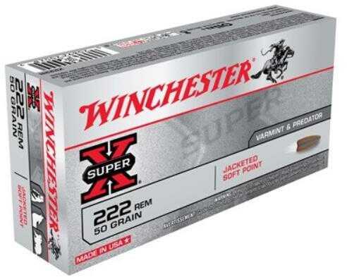 Winchester 222 Remington 50 Grain Super-X Pointed Soft Point (Per 20) Ammunition X222R