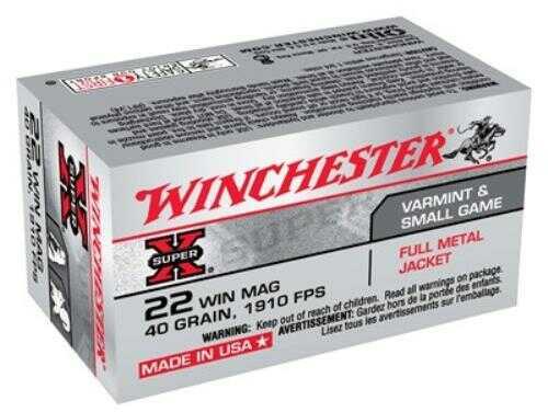 Winchester Ammunition Super-X 22 WMR 40 Grain Full Metal Jacket 50 Round Box X22M