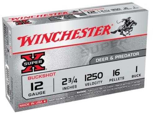 "Winchester Ammunition Super-X 12 Gauge 2.75"" 1250Fps. #1Bk 16-Pellets 5-Pk."