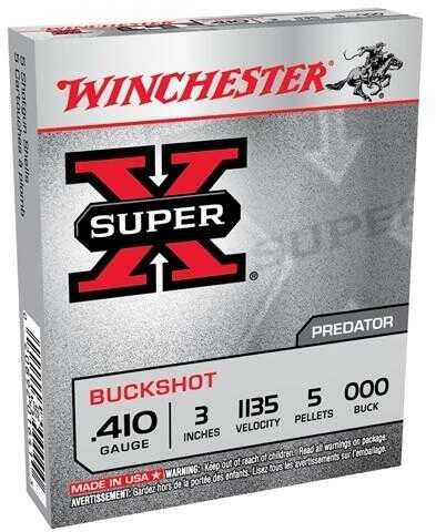 """Winchester Ammunition Super-X 410 Gauge 3"""" Buckshot 5 Pellets 5 Round Box XB413"""