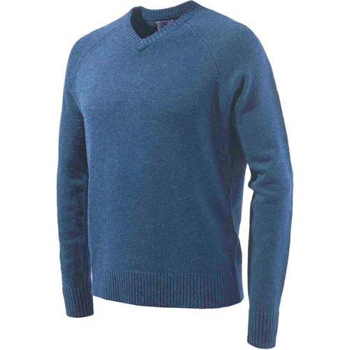 Beretta Men's Classic V-Neck Sweater in Blue size Large