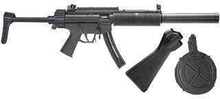 "American Tactical Imports ATI Rifle GSG 522 SD LW 16.25"" Barrel 2 Stocks 22 Long Rifle 22 Rounds & 110 Round Drum Faux Suppressor Black GERG522RLSD110"
