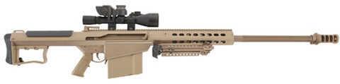 """Barrett Firearms Barrett Model 107A1 50 BMG 29"""" Fluted Barrel 10 Round Leupold Mark 4 M1 Scope Tan Semi Automatic Rifle 13135"""
