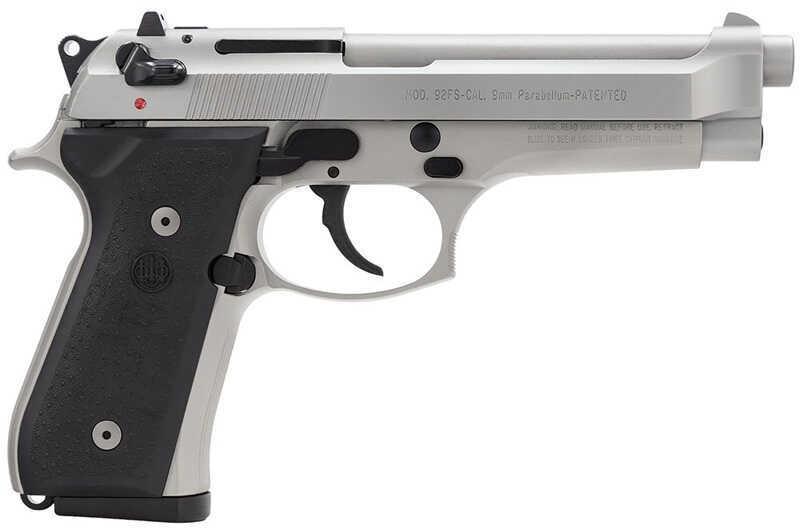 """Pistol Beretta Model 92FS Vertec Semi Auto Handgun 9mm Luger Luger 4.7"""" Barrel 10 Rounds 3 Dot Sight Stainless Steel J92FA20"""