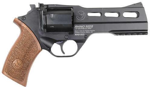 "Chiappa Rhino Revolver 357 Magnum 5"" Barrel 6 Round Steel Black Finish 3 Moon Clips Wood Grip Fixed Blade Front Sight Adjustable Rear Sight Pistol 340.072"