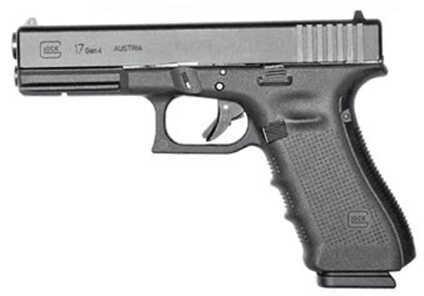 "Glock 17 Gen 4 Semi Automatic Pistol 9mm Luger 4.5"" Barrel 10 Rounds Matte UG1750201"