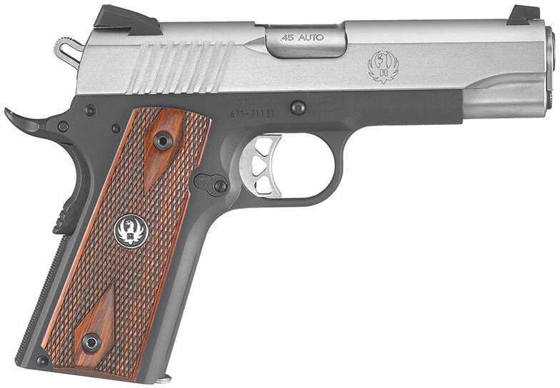"""Pistol Ruger SR1911 Single 45 ACP 4.3"""" Barrels 7+1 Rounds Hardwood Panel Grip Stainless Steel Slide/Blued 6711"""