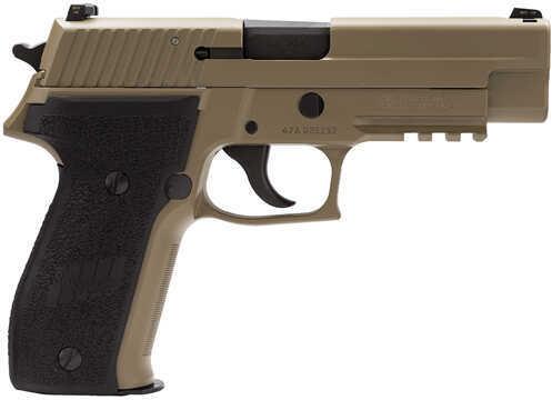 "Sig Sauer P226 9mm Luger 4.4"" Barrel 15 Round Black Nitron Anchor Engraving Desert Tan Semi Automatic Pistol MK25D"