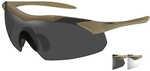 Wiley X WX Vapor Sunglasses Tan 499 Frame, Smoke Grey and Clear LensWiley X WX Vapor Sunglasses, Tan 499 Frame, Smoke Grey and Clear Lens    Features:    - Removable foam brow bar to guard against sun...
