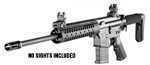 Specifications:    - No Sights   - 5.56 NATO (accepts .223 Remington)   - 16