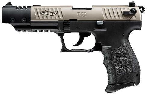 "Walther P22 Target 22 Long Rifle 5"" Barrel 10 Round Nickel  Black  CA Legal  Semi Automatic Pistol 5120337"